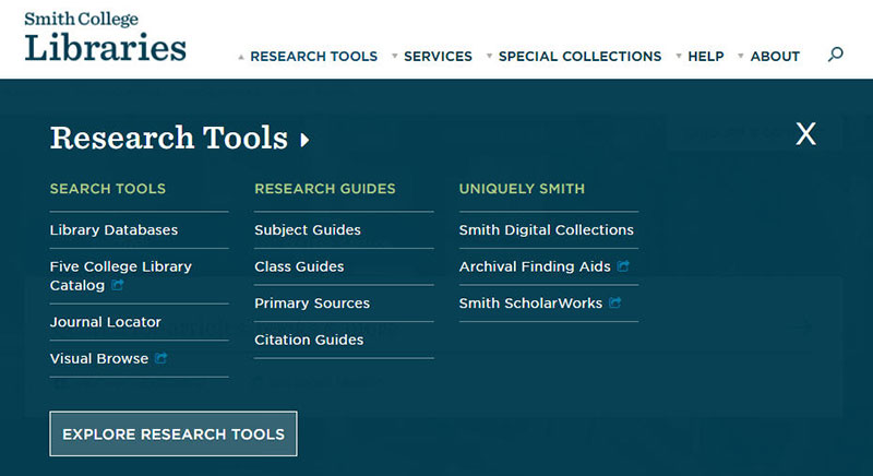 Research Tools mega-menu on the new Libraries' website