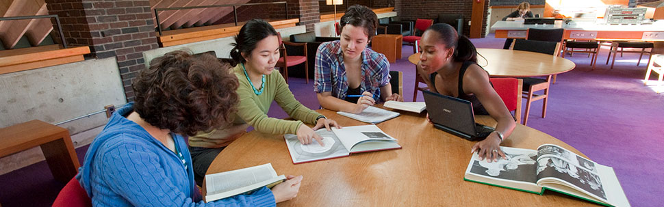 Students working together in Josten Library