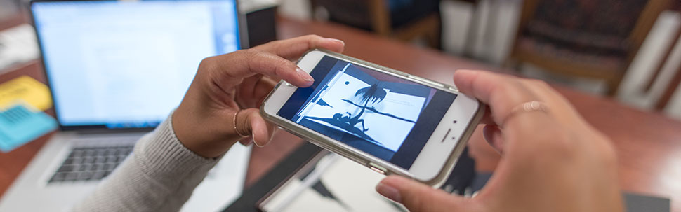 Researcher using mobile device and camera