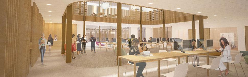 Rendering of the Digital Media Hub on the ground floor of Neilson Library