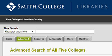 Screenshot Five College Library Catalog