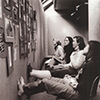 Smith College students studying art reproductions for an Art 100 exam in 1979