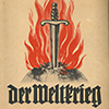 Cover of the 1933 German cigarette album Der Weltkrieg with a flaming sword