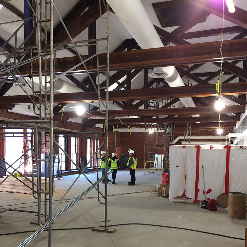Alumnae Gymnasium interior under construction