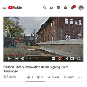 Still shot from New Neilson beam signing time lapse video