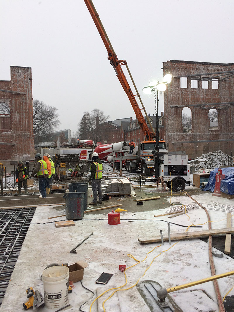 Neilson Library construction site - 1909 Core - Pouring First Section of Heavy Interior Concrete Mat Slab