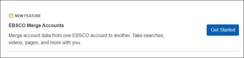 screenshot showing the EBSCO webpage merge accounts link