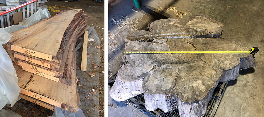 Left: wood slabs cut from the elm tree. Right: the wood piece that will form the cookie table.