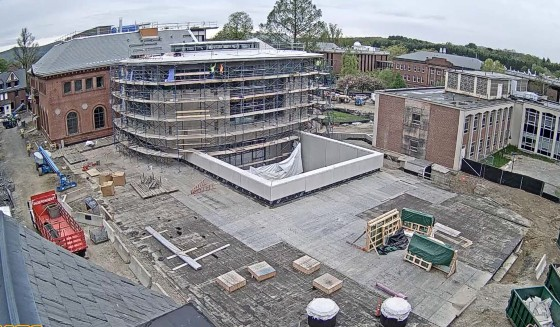 Aerial view of the north wing of Neilson Library under construction