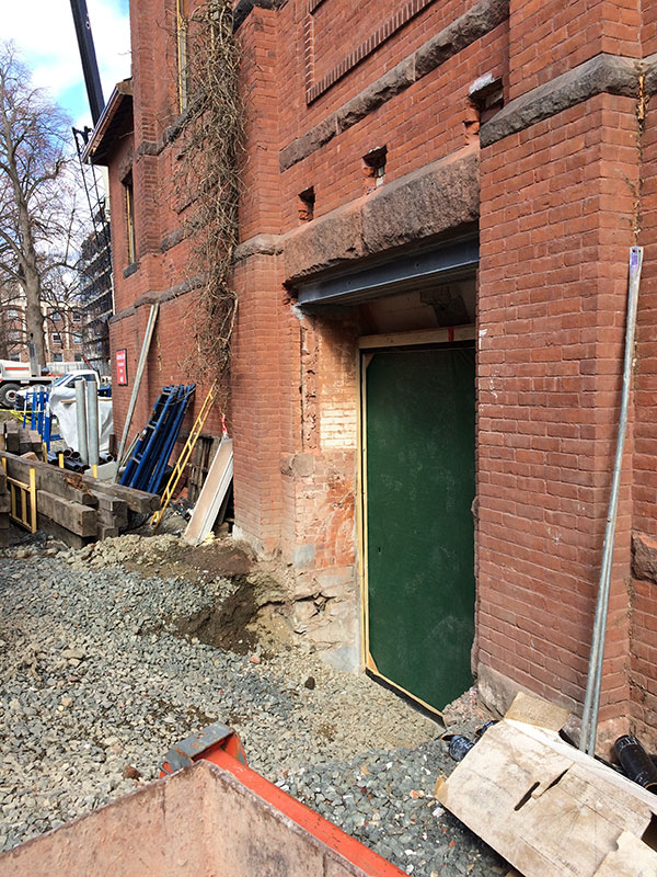 new opening cut into the exterior wall of Alumnae Gymnasium
