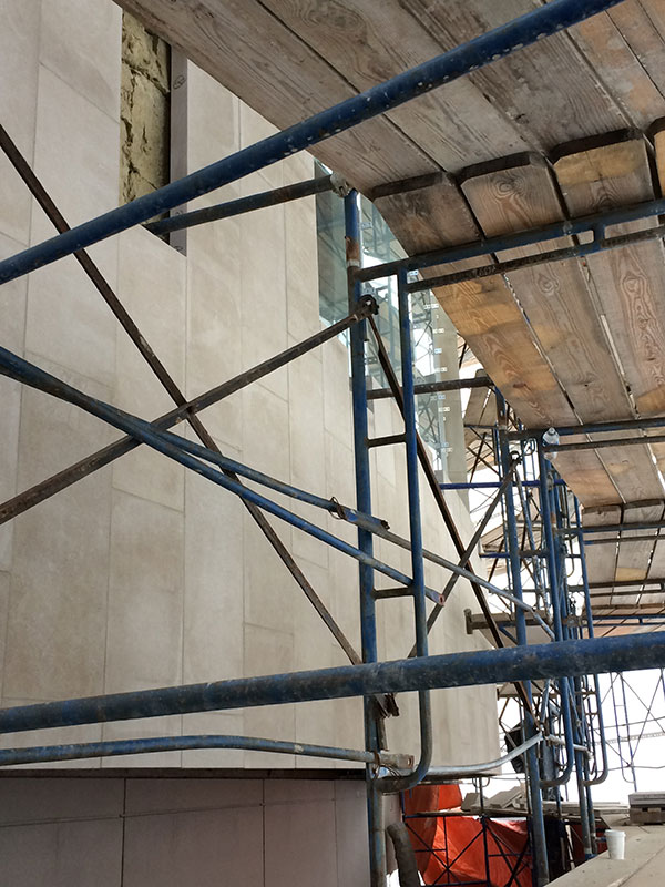 Limestone panels installed on the north addition