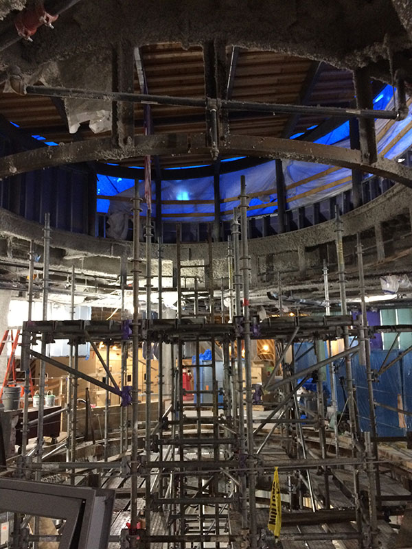 This photo taken from the fourth floor reading room shows the staging assembly nearly complete
