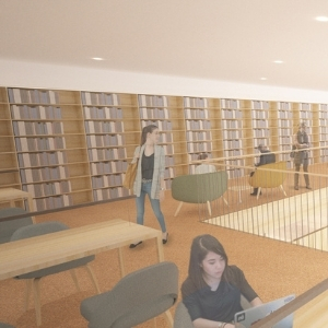 Rendering of the Learning Commons mezzanine in New Neilson Library