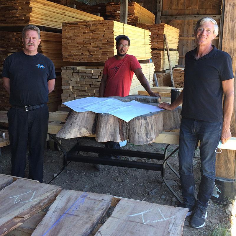 R-L: Architect Bill Bialosky, furniture craftsman Sam French, and metal base fabricator Bruce Golinski.
