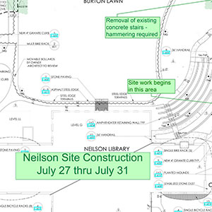 Neilson Library Construction Perimeter July 27-31