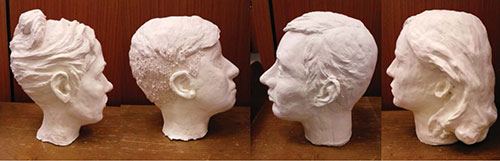 Busts from Profiles in Literature pop-up exhibit