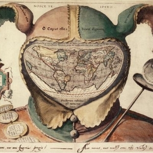 """Image: """"Fool's Cap Map of the World"""", Oxford Bodleian Library. From Artstor."""