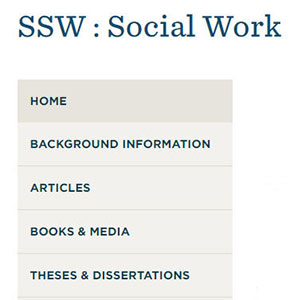 Screenshot of Social Work subject page