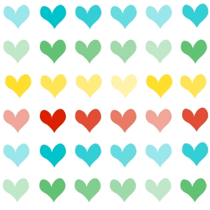 multiple hearts on a white background