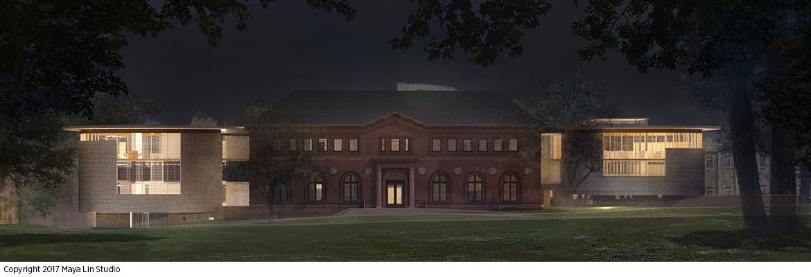 Maya Lin's design for the New Neilson Library, east elevation at night