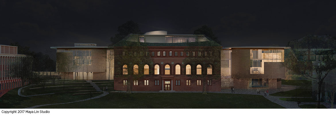 Maya Lin's design for the New Neilson Library, west elevation at night