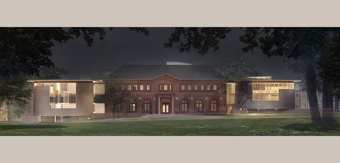 New Neilson Library east elevation at night