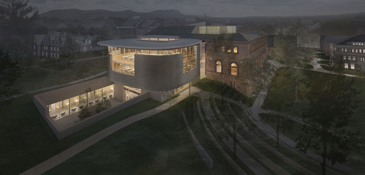 New Neilson Library sunken courtyard and north jewel box at night