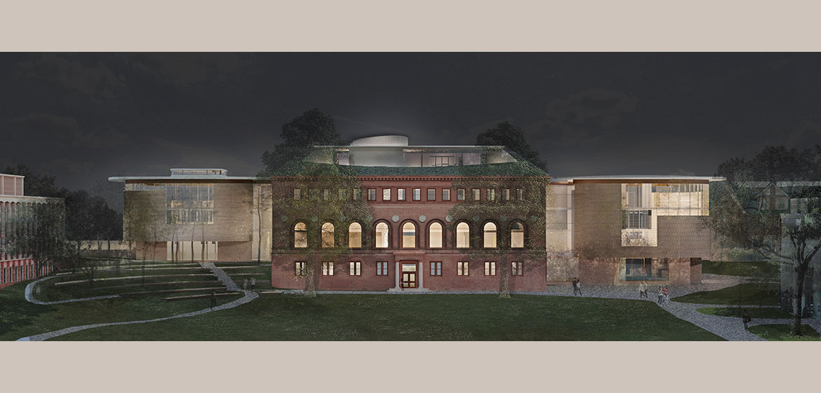 New Neilson Library west elevation at night