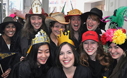 Students at Rally Day wearing hats