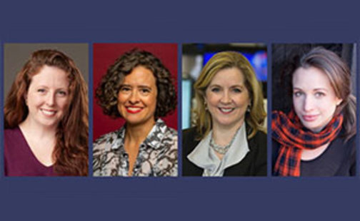 Sarah Baker '03, Carolina Miranda '93, Kate O'Brian '80, and Brooke Hauser
