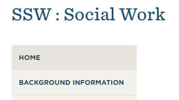 Screenshot of social work subject guide