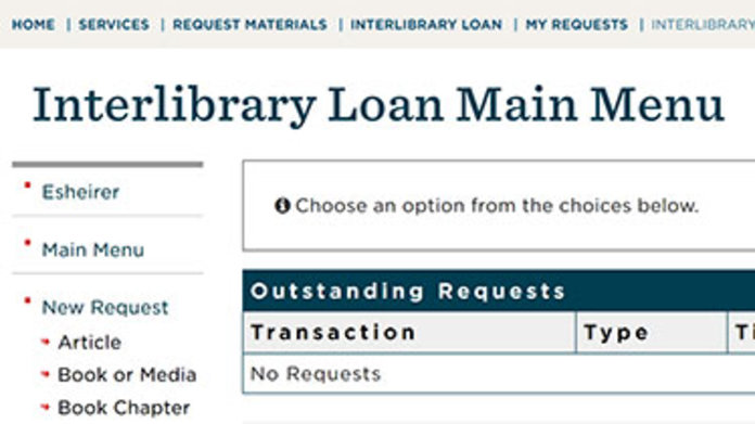 Screenshot of Interlibrary Loan home page