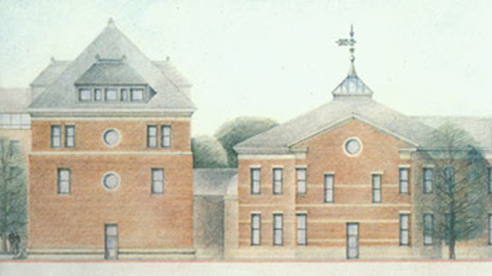 Drawing of Ball Hall 1990s