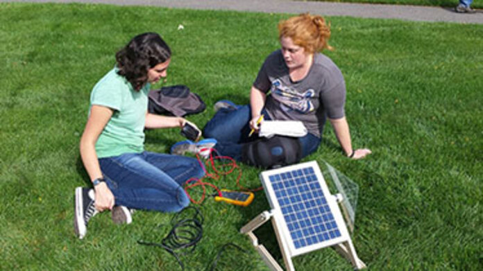 Students working on solar project