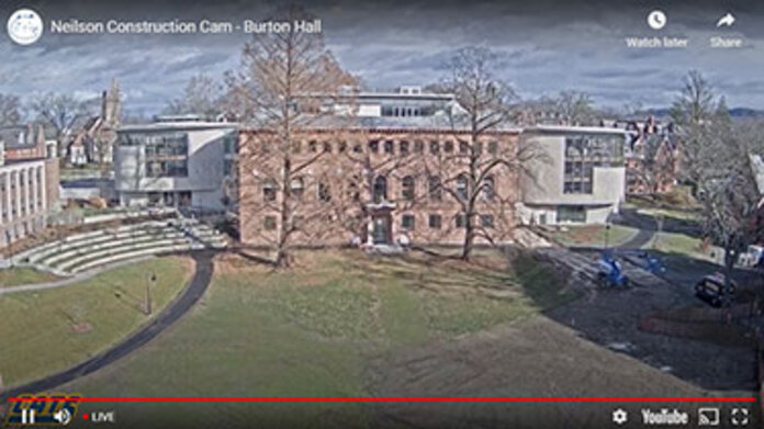 Neilson Library construction webcam, view from Burton lawn