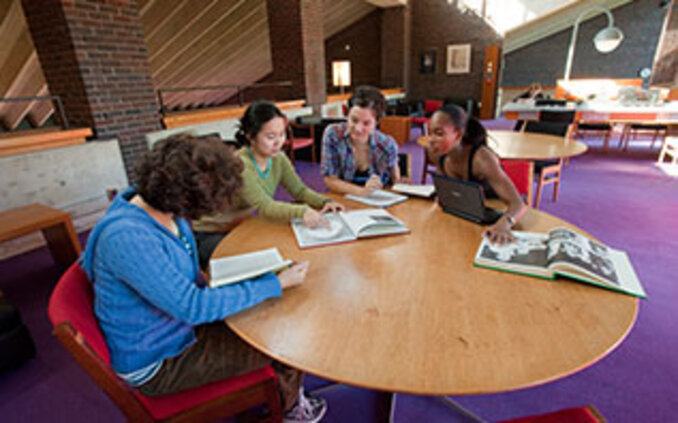 Students studying in Josten Performing Arts Library