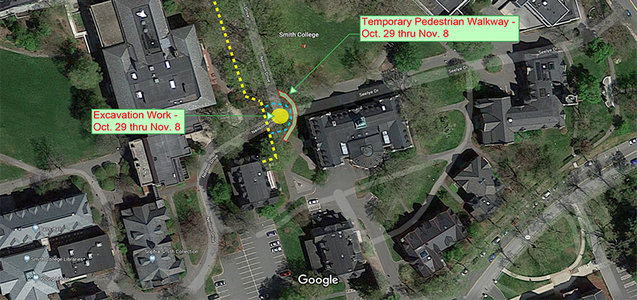 Google map of Neilson Library construction site