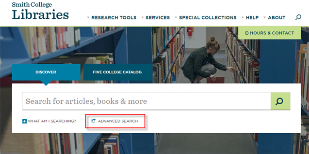 Discover search box on home page with link to Advanced search