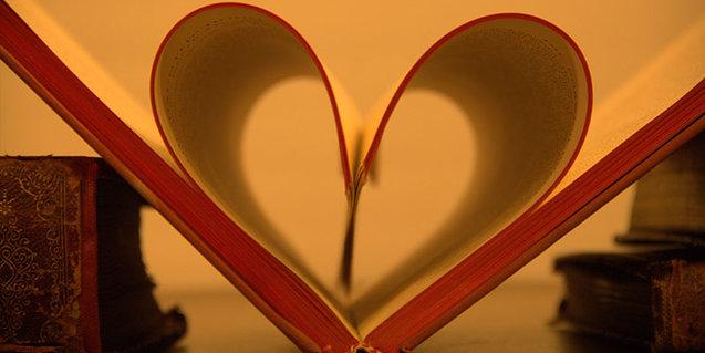 Open book shaped like heart