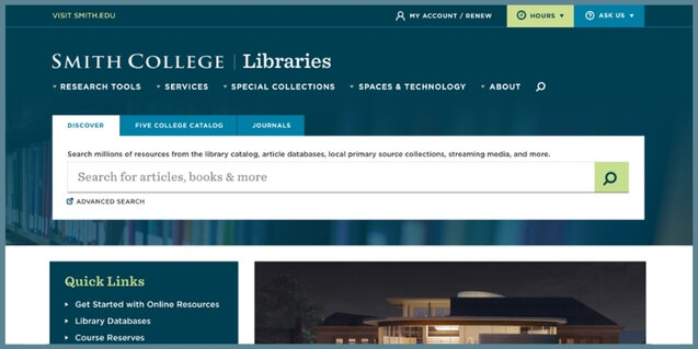 screenshot of the new Smith College Libraries homepage