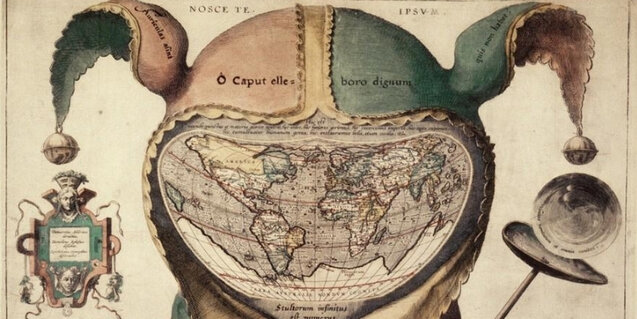 "Image: ""Fool's Cap Map of the World"", Oxford Bodleian Library. From Artstor."