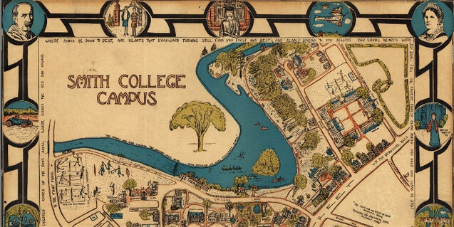 old illustrated map showing smith college campus