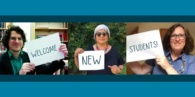 Micah Walter, Marlene Wong, and Jean Ferguson holding up signs saying Welcome New Students