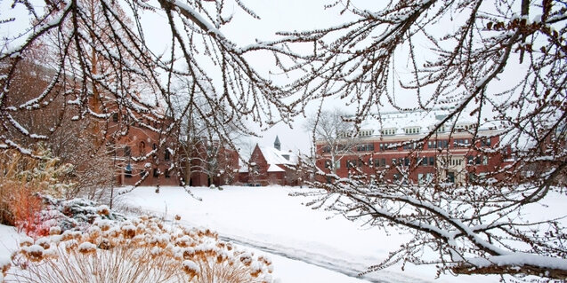 Smith College campus buildings covered in snow
