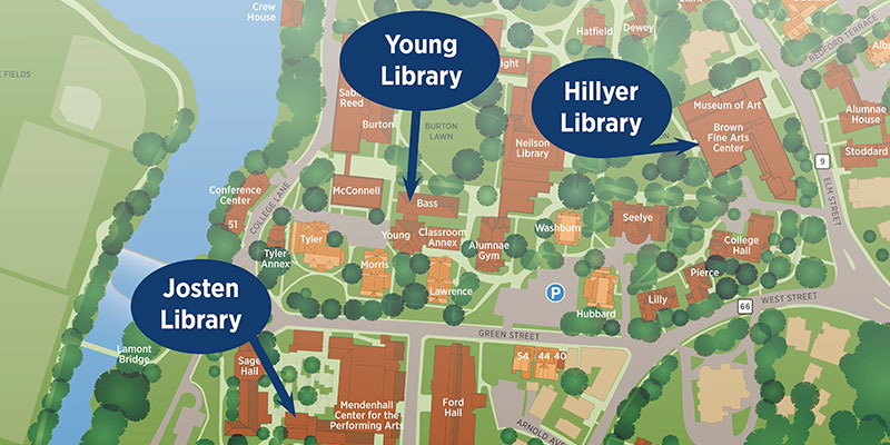 Map showing locations of Young, Hillyer, and Josten Libraries