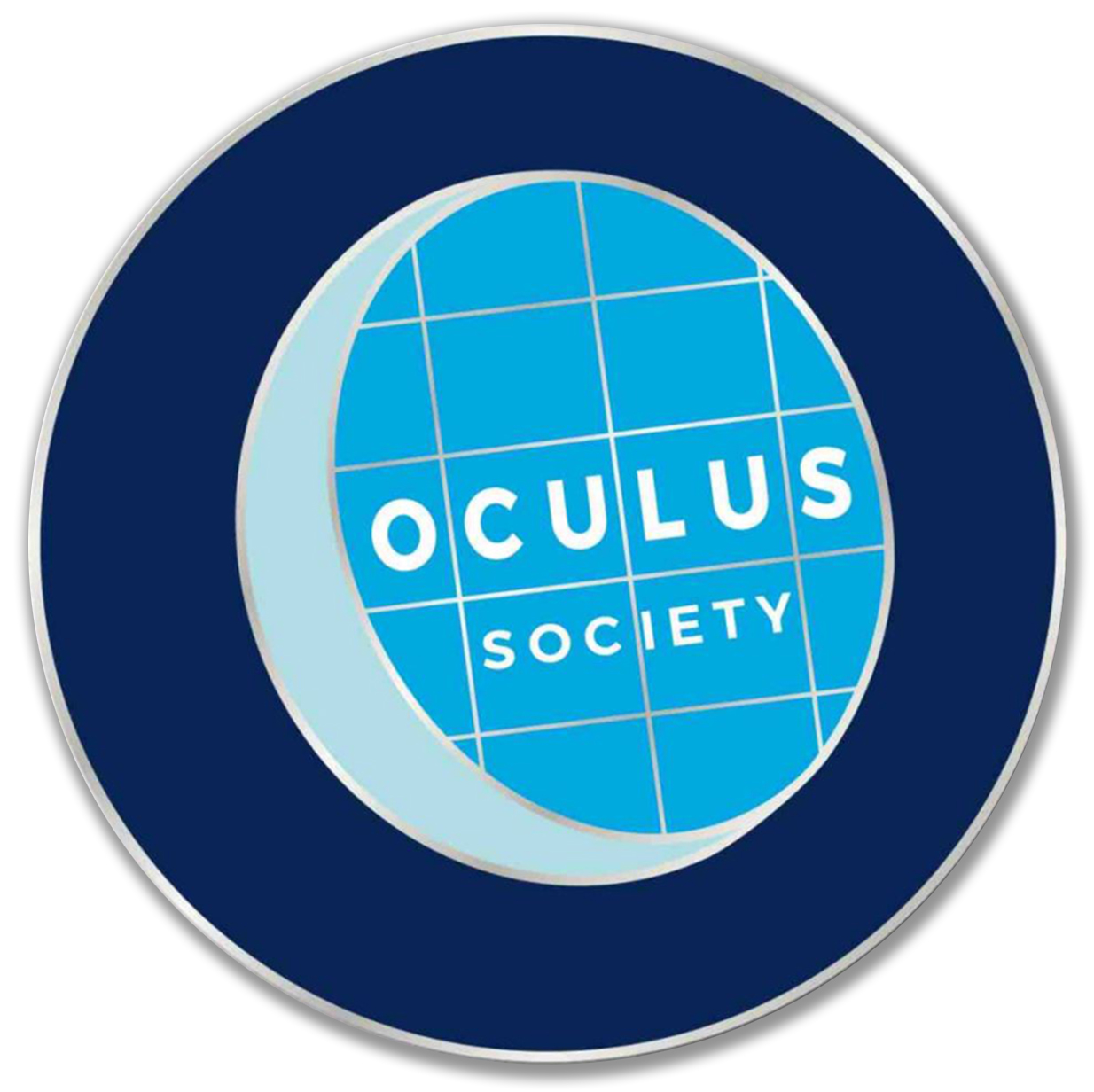 """blue and silver pin with the word """"oculus society"""""""
