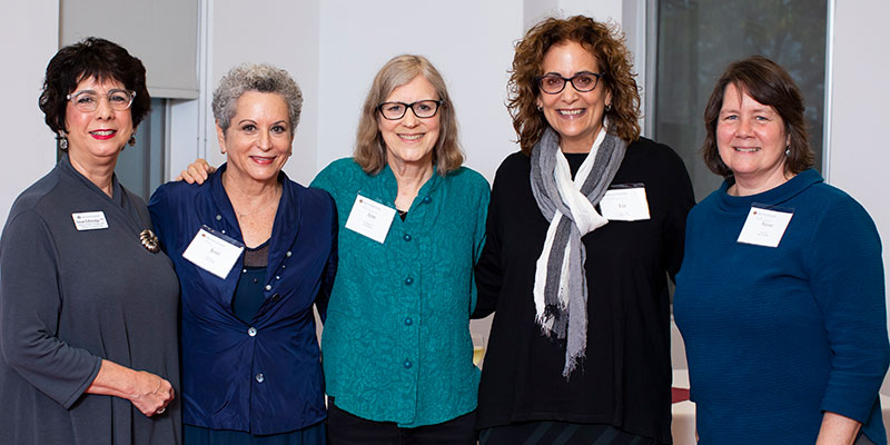 Susan Etheredge '77, Jean Feiwel, Ann M. Martin '77, Liz Szabla, Susan Fliss. Photo by Lynne Graves.