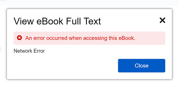 Error message when an e-book is loaned to another user