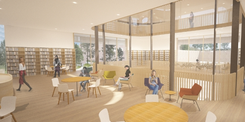 artist rendering of students in a sunny cafe in the Neilson Library