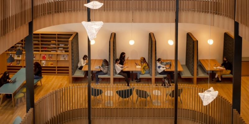 students studying in booths in the Neilson Library